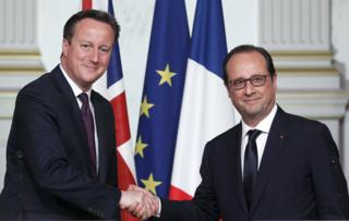 Mr Cameron and Mr Hollande pictures in Paris in May