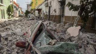 Una calle de México después del terremoto.