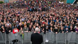 Labour Leader Jeremy Corbyn delivers a speech to a large crowds at a rally in Gateshead
