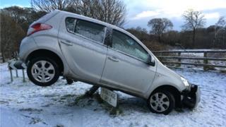 Crashed car in Edinburgh