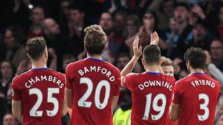 Middlesborough players acknowledge their fans following their 0-3 loss in the English Premier League soccer match between Chelsea FC and Middlesborough FC at Stamford Bridge in London,