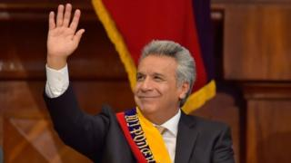 Ecuador's new President Lenin Moreno waves during his inauguration ceremony in Quito, 24 May 2017