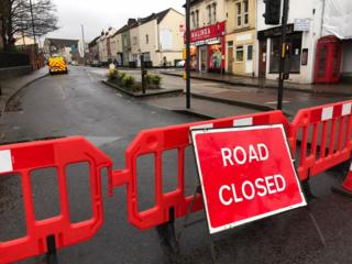 Image of closed church road