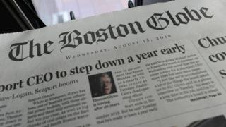A copy of the Boston Globe newspaper, August 2018