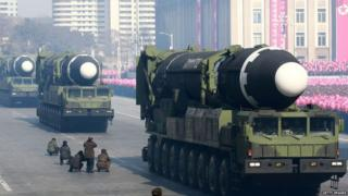Hwasong-15 ballistic missile during the military parade to mark the 70th anniversary of the Korean People's Army at Kim Il Sung Square in Pyongyang, 9 February 2018