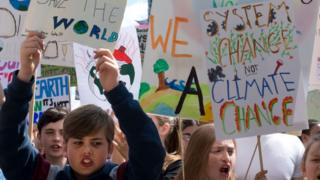 Children at a climate protest