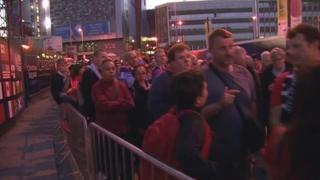 Fans queue after Wales v Fuji on October 1