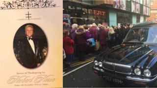 Order of service and crowds as hearse passes outside Herbert hairdresser's shop in Liverpool