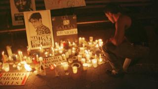 Vigil for Matthew Shepard in New York City 19 October 1998
