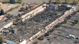 A K-mart supermarket was burned out in the Santa Rosa blaze