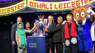 Premier League trophy at lights switch-on