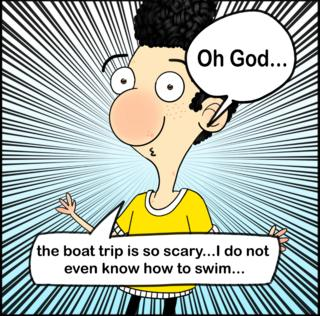 Cartoon of Ali Dorani saying he is scared because he doesn't know how to swim
