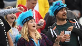 Fans enjoy the atmosphere during the cricket match between Sussex Sharks and Middlesex