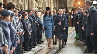 Duchess of Cambridge attends a service at RAF church St Clement Danes