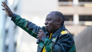 President Ramaphosa addressing voters in Johannesburg on May 13 following the ANC election win