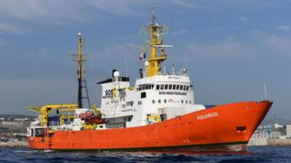 The Aquarius, painted with a bright orange hull and white above-deck structures, leaves Marseilles in this file photo