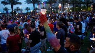 A vigil in memory of victims of the mass shooting at the Pulse gay night club in Orlando, Florida