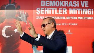 El presidente de Turquía Recep Tayyip Erdogan durante el rally en Estambul