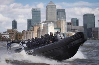 Metropolitan Police counter-terrorism officers taking part in an exercise on the River Thames in London