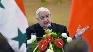 Syrian Foreign Minister Walid Muallem speaks to reporters in Beijing (24 December 2015)