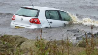 The car entered the water at Lough Road in Antrim