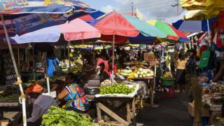 People in a market in Georgetown