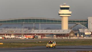 Empty runway at Gatwick airport
