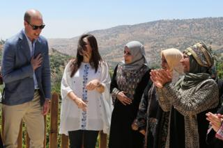 Prince William visits the Princess Taghrid Institute for Development and Training in the province of Ajloun, north of the Jordanian capital Amman