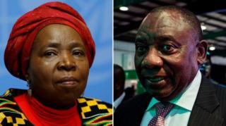 Nkosazana Dlamini-Zuma and Cyril Ramaphosa
