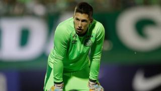 Brazil's Chapecoense goalkeeper Follmann, warms up prior to a Copa Sudamericana semifinal soccer match against Argentina's San Lorenzo on 29 November