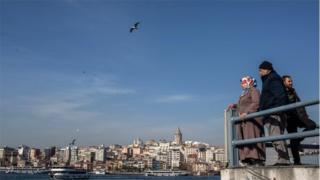 People on Bosphorus bridge