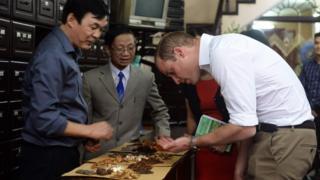 Hoàng tử William thăm một hiệu thuốc ở phố Lãn Ông, Hà Nội
