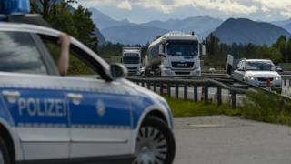 German police near Austrian border, file pic