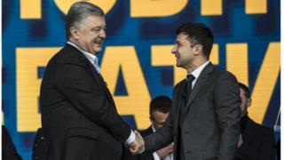 Порощенко и Зеленский на стадионе