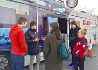 The BBC Listen Up bus in Bristol