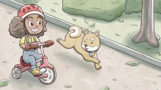 Illustration of a little girl with dark skin on her bike accompanied by a dog