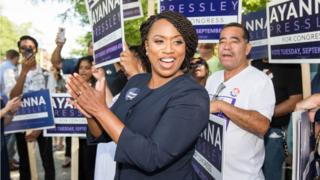 Boston City Councilwomen And House Democratic Candidate Ayanna Pressley applauds