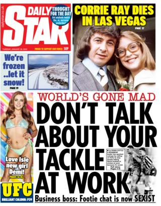 Tuesday's Daily Star front page