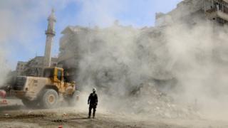 Bulldozer in Aleppo