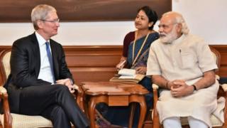 Tim Cook and Narendra Modi