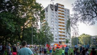 Scene of a fire at a block of flats in Bohumin, Czech Republic