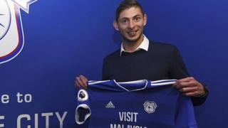 Sala posing with a Cardiff City shirt on 20 January