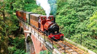Talyllyn Railway's Locomotive No 1, Talyllyn, on the Dolgoch Viaduct