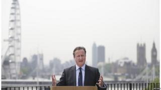 David Cameron speaking in central London