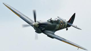 Spitfire flying at Duxford