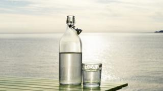 Garrafa e copo de água com o mar ao fundo