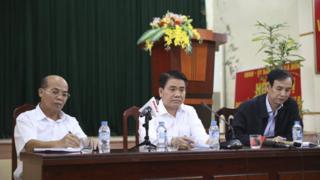 Chủ tịch UBND Thành phố Hà Nội Nguyễn Đức Chung dự cuộc họp với chính quyền và người dân xã Đồng Tâm hôm 22/4