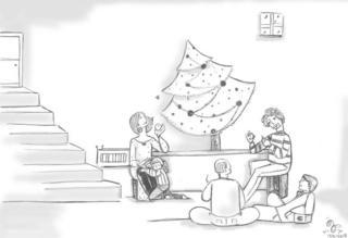 Amigos reunidos em torno de uma árvore de natal