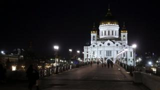 Christ the Saviour Cathedral with its illumination switched on before Earth Hour, in Moscow, Russia