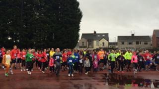 People gather for the fun run